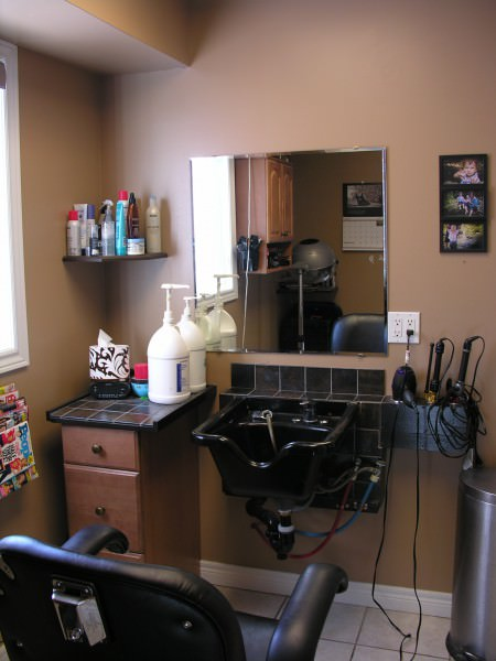 Home hair salon after da maren home renovations - Small space for lease style ...
